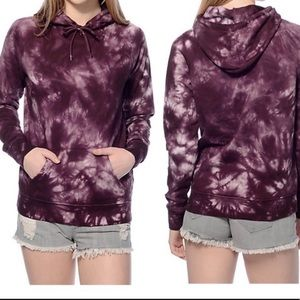 Zine Purple Tie Dyed Hooded Pullover Sweatshirt L